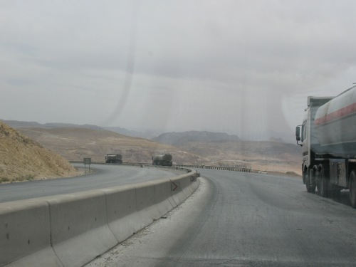 The bleak Desert Highway was dominated by trucks and potholes.