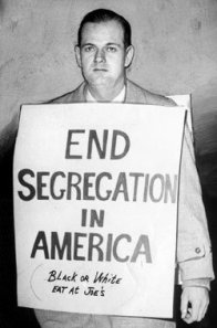 "William Lewis Moore holding a sign that says ""End Segregation in America. Black or White Eat at Joe's"""
